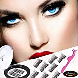 Dual Magnetic False Eyelashes Fake Lashes with Free Tweezer - Reusable and Easy