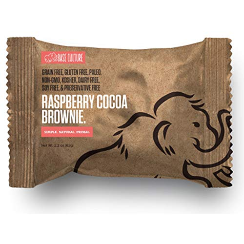 Paleo Brownie Raspberry Cocoa | All Natural 100% Paleo, Gluten, Grain, Dairy, and Soy Free & No Preservatives Crafted by Base Culture (6g Protein per Serving, 10 Count)