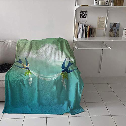 Khaki home Children's Blanket Stroller Lightweight All-Season Blanket (60 by 80 Inch,Modern Decor,Wedding Themed Frame Sparrows Birds Clouds Ombre Design,Slate Blue Pale Green and White