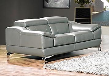 Cortesi Home Vegas Genuine Leather Sofa Loveseat Set with Adjustable Headrests, Grey