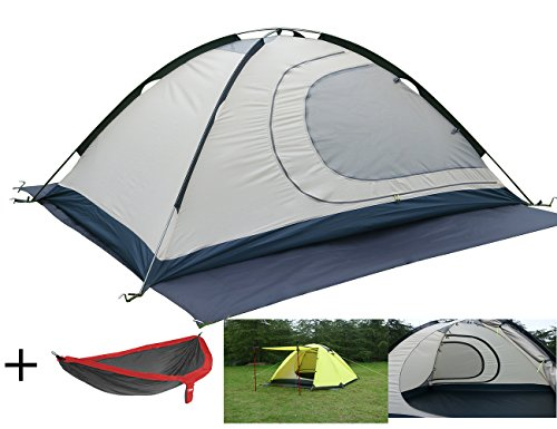 Luxe Tempo 2 Person 4 Season Tents for Camping with Free Hammock Backpacking Aluminum Poles All Weather Tested & Approved 2 Door 2 Vestibules Reflective