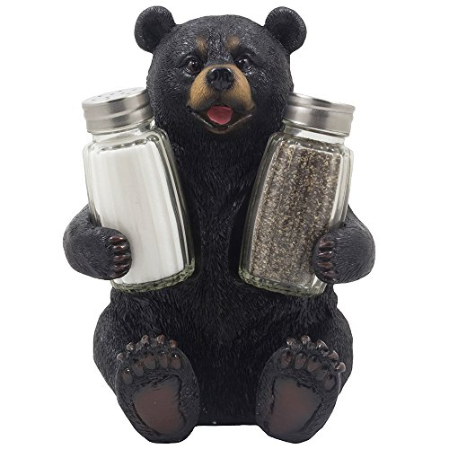 (Decorative Black Bear Glass Salt and Pepper Shaker Set with Holder Figurine Sculpture for Rustic Lodge and Cabin Kitchen Table Decor Centerpieces & Spice Rack Decorations or Teddy Bear Gifts)