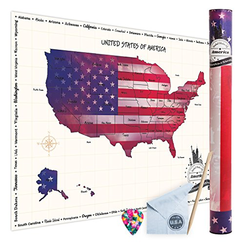 (Scratch-Off USA Travel Map - Large Map of The United States for The Wall, Scratch-Off Poster of The USA for Travel, Personalized Travel Map, USA, Travel Tracker, Gifts for Travelers)
