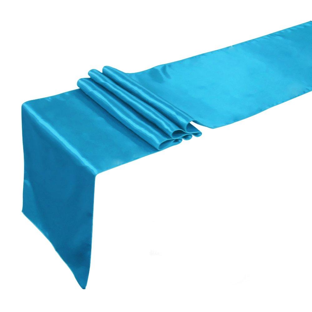 Meijuner 10pcs 30cm X 275cm Premium Satin Table Runner For Wedding Reception Banquet Table Decoration 22 Color Available (Turquoise Blue)