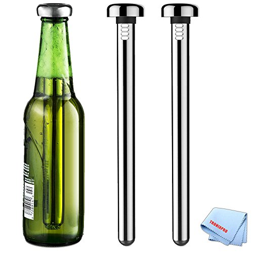 (2) Tronixpro Stainless Steel Beer Chiller Sticks with Microfiber Cloth