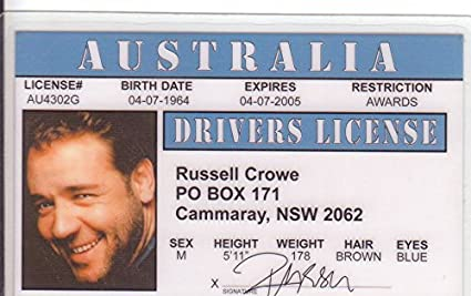 Russell Crowe Novelty Drivers License / Fake I d
