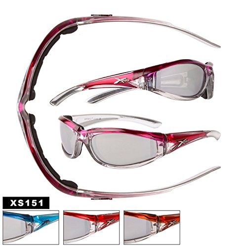 Xsportz Crisp Orange Motorcycle Sunglasses with Silver-tone Frames. Foam Padded Interiors! Flashy mirror UV400 lenses. Adult Women. Temple 5.37 inch. - Flashy Sunglasses