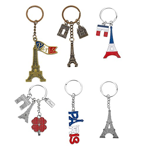 (Juvale Paris Keychain - 6-Pack Souvenir Key Rings, 6 Assorted Designs Include Eiffel Tower, French Flag, and Arc de)
