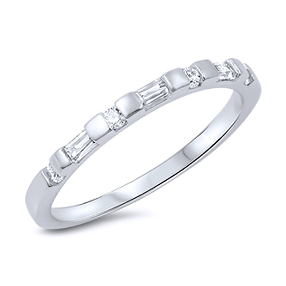 Sterling Silver Baguette CZ Stackable Band Anniversary Ring 2MM ( Size 5 to 10 ), 7