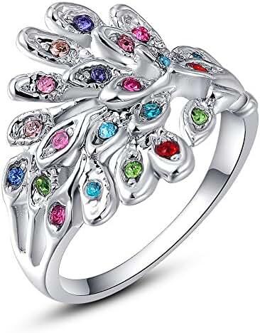 Girls' Women's Fashion Rose Gold Platinum Plated Zircon Peacock Band Stylish Ring