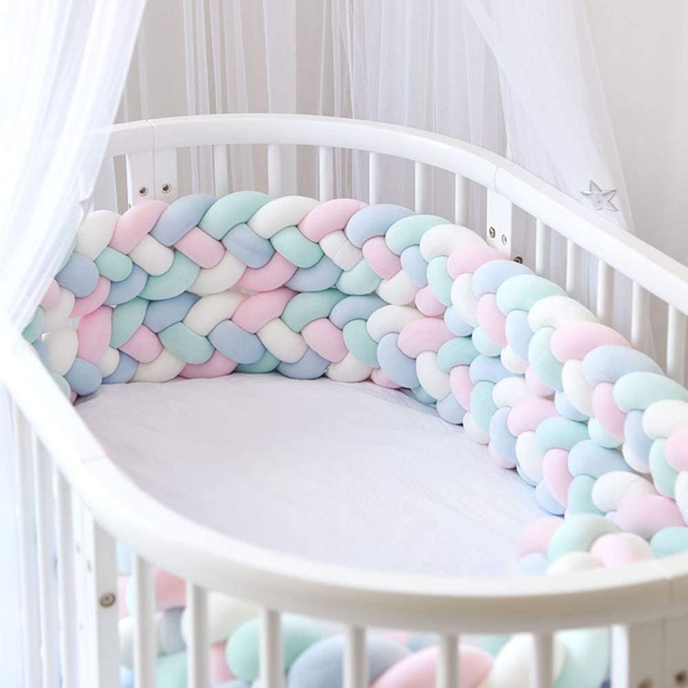 Decdeal Braided Cot Bumper Crib Knotted Protector Warp Around Protection for Baby Nursery Cot Bedding 118Inch//3M