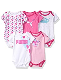 PUMA Baby-Girls Baby 5 Pack Ss Bodysuits