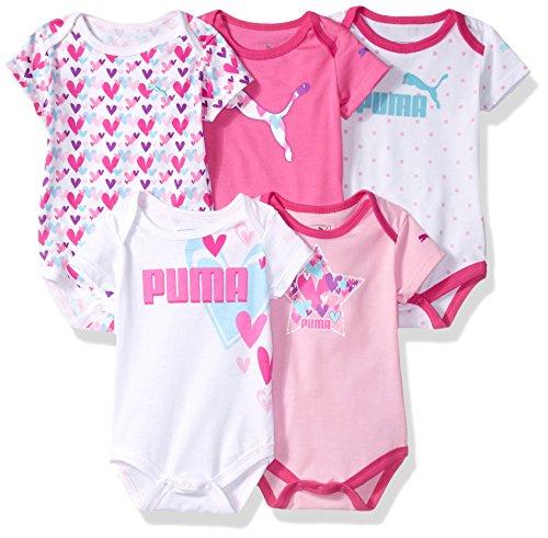 PUMA Baby Girls' 5 Pack Ss Bodysuits, Sugar Plum, 6/9M