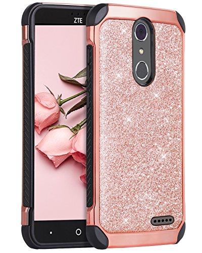 ZTE Grand X4 Case, ZTE Blade Spark Case,ZTE Grand X 4 Case,BENTOBEN 2 in 1 Sparkly Glitter Slim Hybrid Hard Cover Shockproof Protective Case for ZTE Grand X4/ZTE Blade Spark (Z971) /ZTE Z956,Rose Gold (Cricket Grand Cases Phone Zte)