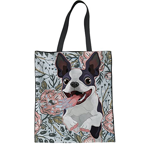 (HUGS IDEA Teens Girl Fashion Canvas Tote Bag Boston Terrier Print Travel Shoulder Bag)
