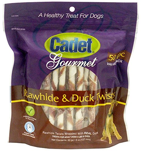 Cadet Rawhide Dog Treat Twists Duck 50 ct.