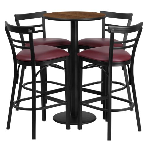 "Flash Furniture 24"" Round Walnut Laminate Table Set with 4 Ladder Back Metal Barstools – Burgundy Vinyl Seat For Sale"
