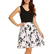 ACEVOG Women's Floral Print Swing Fit and Flare Sleeveless Vintage Dresses