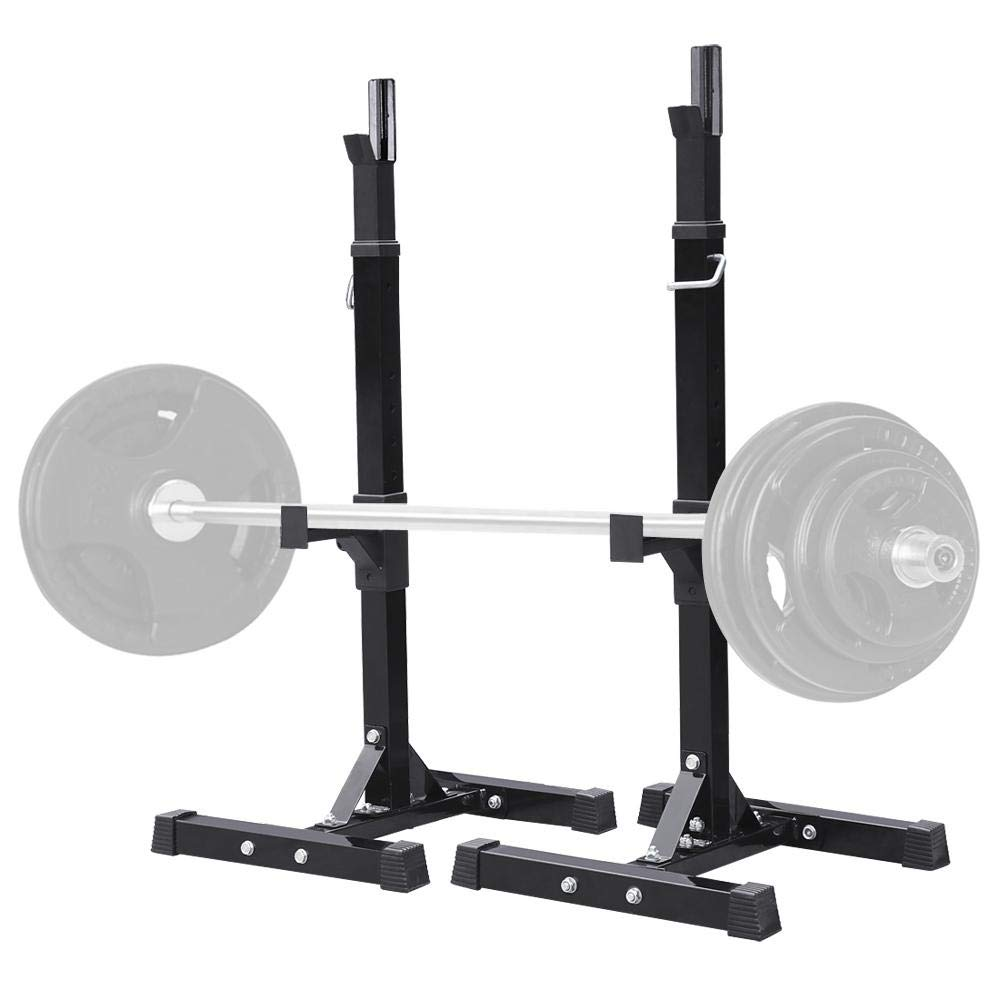 Yaheetech Pair of Adjustable Squat Rack Standard Solid Steel Squat Stands Barbell Free Press Bench Home Gym Portable Dumbbell Racks Stands 44''-70''