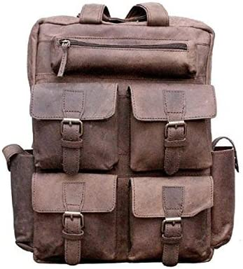 "18/"" New Large Genuine Leather Backpack Rucksack Travel Bag For Men/'s and Women/'s"