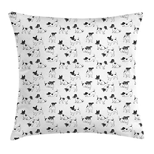 Jack Russell Terrier Clubs - Ambesonne Dog Lover Throw Pillow Cushion Cover, Sketch Style Hand Drawn Jack Russell Terrier Doodles in Various Stances Purebred, Decorative Square Accent Pillow Case, 18 X 18 inches, Black White