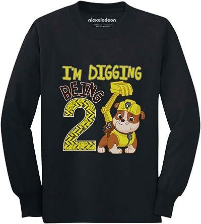 Tstars Paw Patrol Rubble Digging 2nd Birthday 3//4 Sleeve Baseball Jersey Toddler Shirt