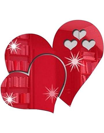Xiton Etiqueta de la Pared de acrílico removible Aeroplano Rojo Espejo en Forma de corazón en