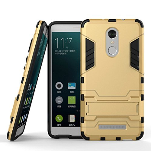 Case for Xiaomi Redmi Note 3 (5.5 inch) 2 in 1 Shockproof with Kickstand Feature Hybrid Dual Layer Armor Defender Protective Cover (Gold)