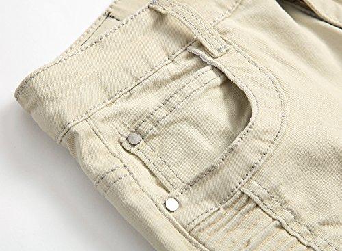 Vintage Destruido Parche Casual Fit Caqui 1 Moda Agujeros Denim Vaqueros Pantalones Pantalones Con Hombres Slim Blanco Stretch Jeans H8wqY