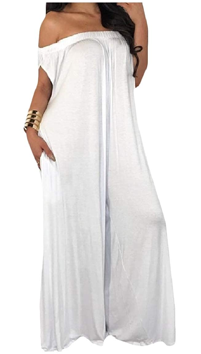 SayahWomen Weekend Solid Backless Relaxed Strapless Oversize Romper Pants