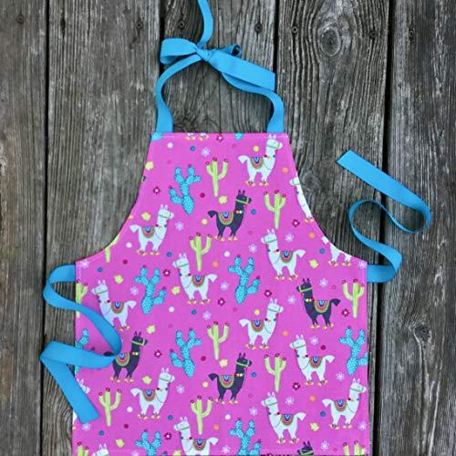 Toddler Girl Bright Pink Llama Art Kitchen Craft Gift Apron from Sara Sews