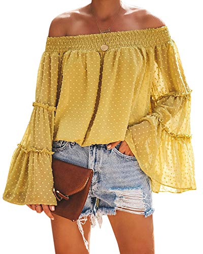 (Womens Off The Shoulder Tops Long Bell Sleeve Flared Casual Loose Blouses Shirts Yellow)