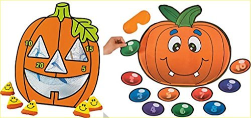 happy deals Wooden Halloween Jack-O-Lantern Bean Bag Toss Game + Free pin Nose on Pumpkin Game