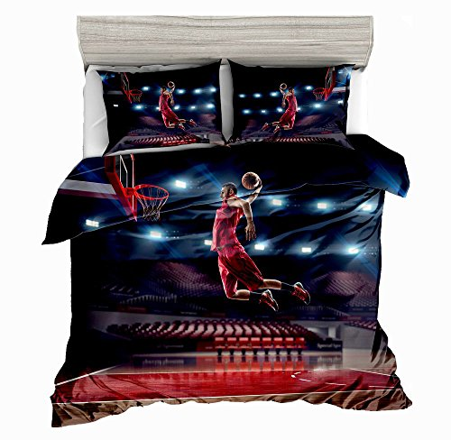 SxinHome 3D Bedding Set,Basketball Slam Dunk Printed Duvet Cover Set for Teens Boys Girls,Queen,3pcs 1 Duvet Cover 2 Pillowcases(no Comforter inside) (Jordan Bedding)