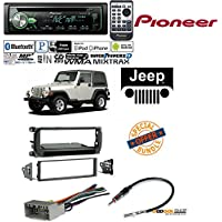 Pioneer DEH-X4900BT Vehicle CD Digital Music Player Receiver W/ Radio Stereo Install Dash Kit + wire harness And antenna adapter for Jeep Grand Cherokee (02-04), Liberty (02-07), Wrangler (03-06)