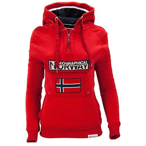 Geographical Norway - Felpa con cappuccio - Basic - Maniche lunghe - Donna Rot