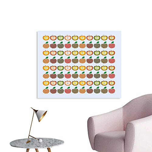 J Chief Sky Apple Wall Decoration Retro Style Pattern Apples with Polka Dot Pattern Colorful Cheerful Happy Healthy Wallpaper Mural W32 xL24 ()