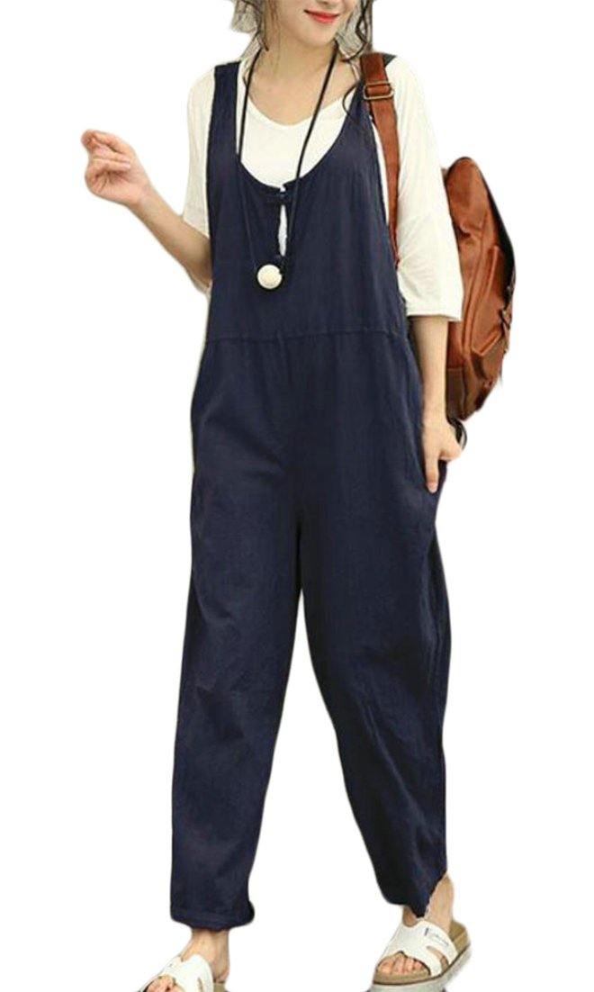 Etecredpow Women's Loose Harem Baggy Casual Solid Braces Plus Size Comfy Overalls
