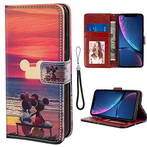 DISNEY COLLECTION Compatible iPhone Xr Wallet Phone Case Mickey Mouse Sunset Drop Protection Premium PU Leather Folio Flip Cover Kickstand with ID&Credit Card Slot