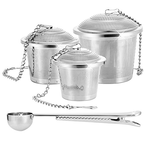 Tea Infuser Stainless Steel Strainers for a Superior Loose Leaf Tea Experience Pack of 4 Autumn Leaves Primary