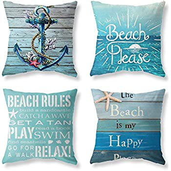 Joyceoo Nautical Wood Beach Rules Quote Holiday Blue Wood Grain Marine Theme Throw Pillow Covers 18