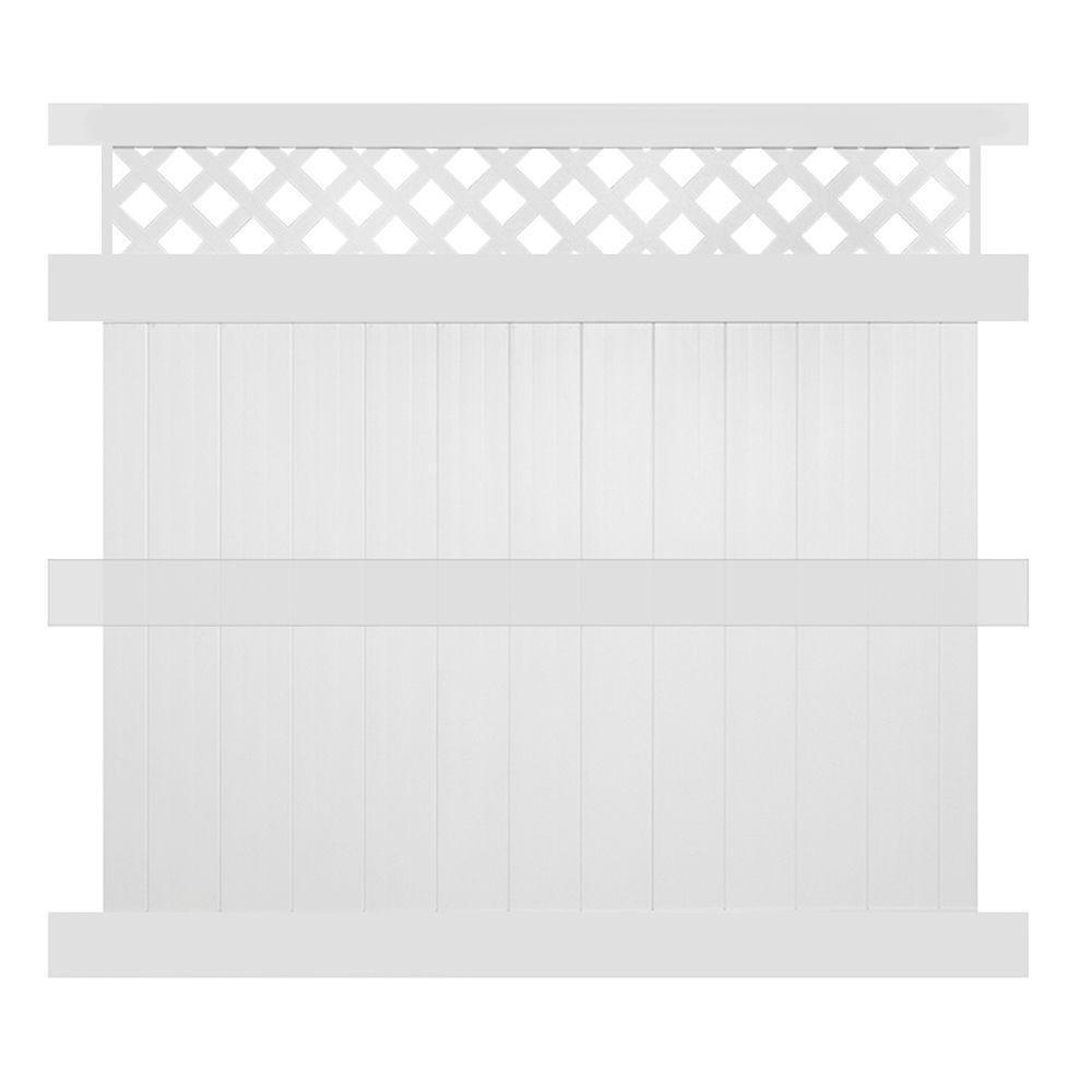 Ashton 8 ft. H x 8 ft. W White Vinyl Privacy Fence Panel