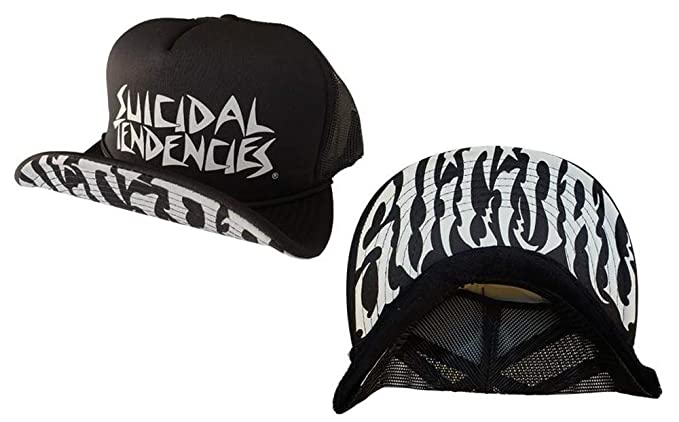 ee74e1926ef Amazon.com  Suicidal Tendencies Official OG Flip UP Trucker Hat New Brim  Print + Sticker  Clothing