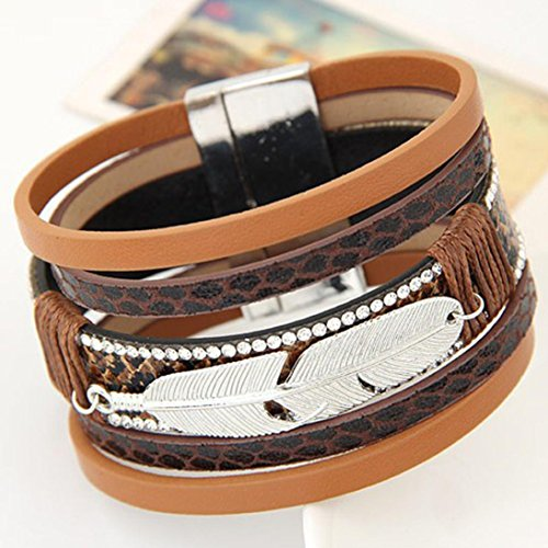 Heart Leather Earrings (Iuhan Stainless Steel New Leaves Braided Leather Cuff Bangle Bracelet Wristband (19.5X3.5cm, Coffee))