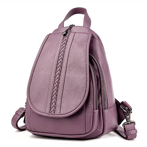 Llegada la mujer Mochilas de cuero mochilas chicas estudiantes universitarios simple viento Preppy mochilas Violeta
