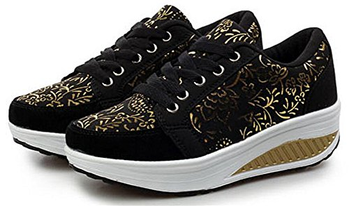 Volwassen Dames Shape Ups Walking Fitness Schoenen Casual Mode Sneakers Zwart