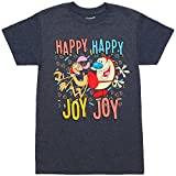 Mighty Fine Ren & Stimpy Happy Happy Joy Joy Adult T-Shirt - Heather Navy (Medium)
