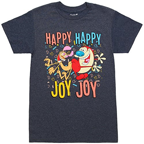 Mighty Fine Ren & Stimpy Happy Happy Joy Joy Adult T-Shirt (XXX-Large, Heather - T-shirt Adult Joy