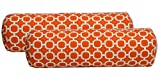 Cheap Set of 2 – Indoor / Outdoor Jumbo, Large, Over–sized, Bolster / Neckroll / Lumbar Chaise Lounge Decorative Pillows – Orange and White Geometric Hockley