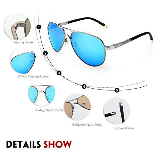 2f7312d553 IALUKU Aviator Polarized Sunglasses Metal Frame Military Pilot Glasses Men  Women (Silver Blue